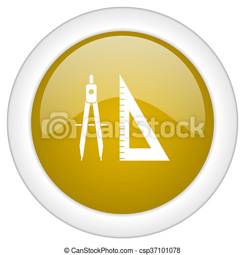learning icon, golden round glossy button, web and mobile app design illustration - csp37101078