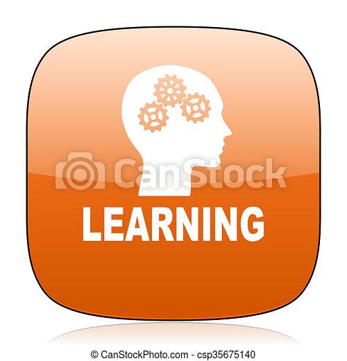 learning orange square web design glossy icon - csp35675140