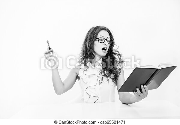 learning process. sexy woman with red lips in glasses. back to school concept. Charming lady smiling at table. Business success. business school teacher or student. Full concentration at work - csp65521471