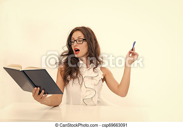 learning process. sexy woman with red lips in glasses. back to school concept. Charming lady smiling at table. Business success. business school teacher or student. Full concentration at work - csp69663091