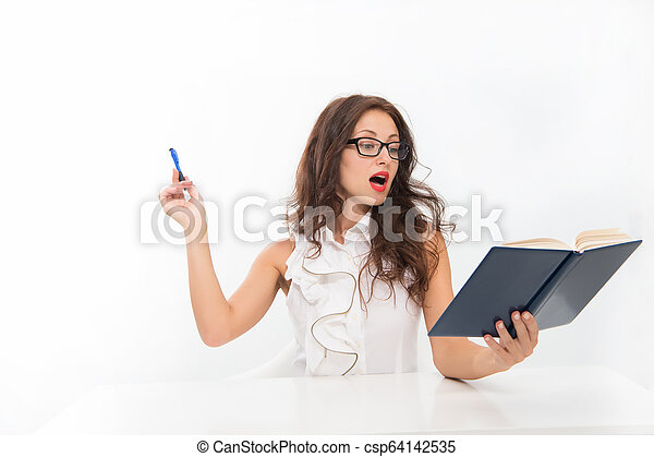 learning process. sexy woman with red lips in glasses. back to school concept. Charming lady smiling at table. Business success. business school teacher or student. Full concentration at work - csp64142535