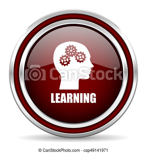 Learning red glossy icon. Chrome border round web button. Silver metallic pushbutton. - csp49141971