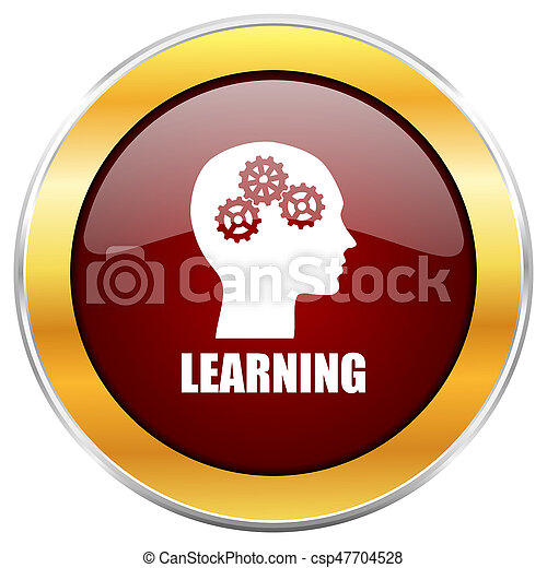 Learning red web icon with golden border isolated on white background. Round glossy button. - csp47704528