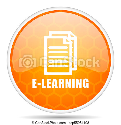 Learning web icon. Round orange glossy internet button for webdesign. - csp55954198
