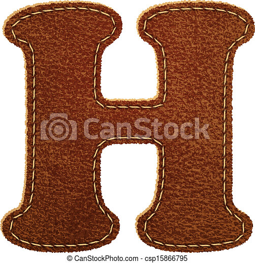 Leather Textured Letter H Vector