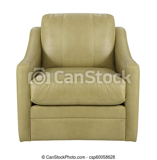 leather armchair isolated on white background - csp60058628