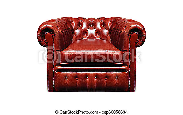 leather armchair isolated on white background - csp60058634