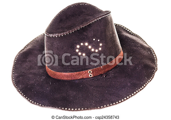 b1f794e479784 Leather cowboy hat isolated on white.