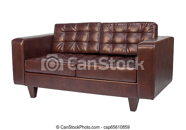 Leather office sofa isolated on white background.