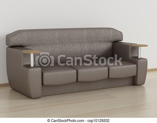 Leather sofa in a room. 3D image. - csp10129202