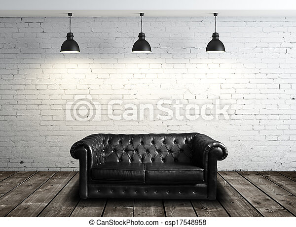 leather sofa in room - csp17548958
