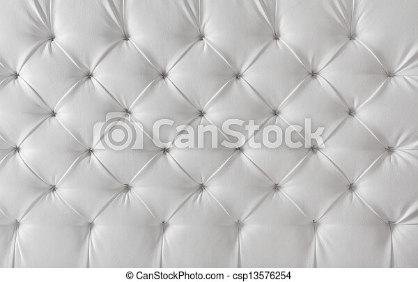 leather upholstery white sofa texture, pattern background - csp13576254