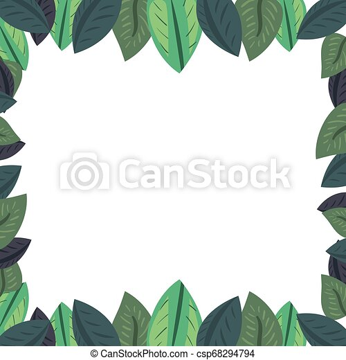 leaves foliage nature frame background vector illustration can stock photo