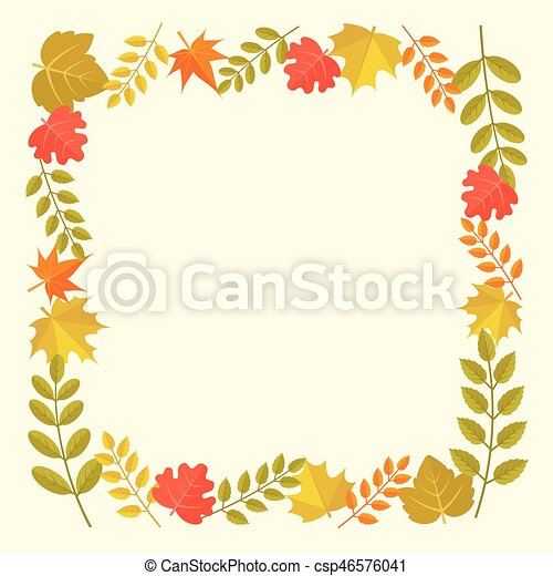 Leaves frame in autumn theme, for thanksgiving.