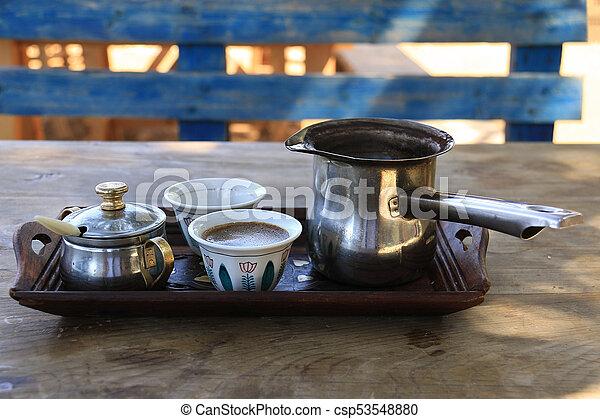 Lebanese Breakfast Setting with Turkish Coffee - csp53548880