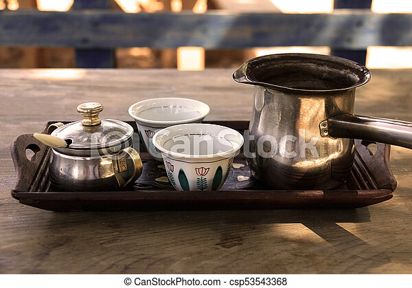 Lebanese Coffee Cups and Kettle - csp53543368