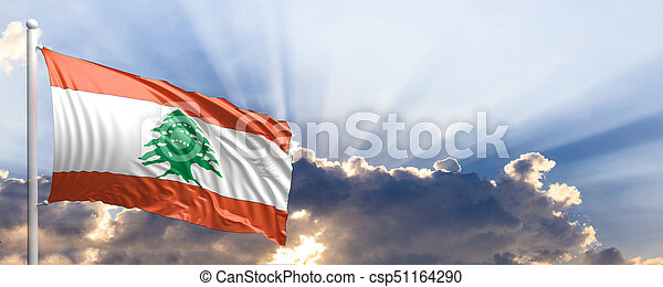 Lebanon flag on blue sky. 3d illustration - csp51164290