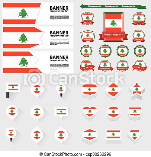 Lebanon independence day, infographic, and label Set. - csp30260296