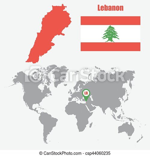 lebanon map on a world map with flag and map pointer vector illustration