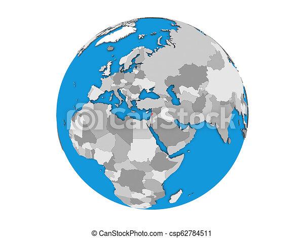 Lebanon on 3D globe isolated - csp62784511