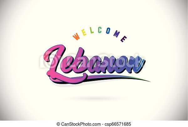 Lebanon Welcome To Word Text with Creative Purple Pink Handwritten Font and Swoosh Shape Design Vector. - csp66571685
