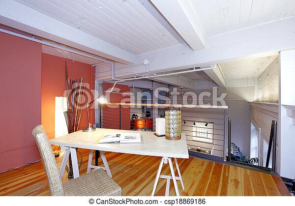 leben büro, zugewandt, mezzanine, reconstructed, zimmer
