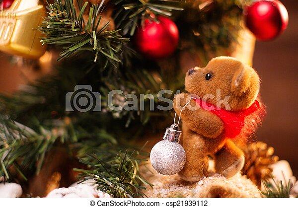 Teddy Weihnachten.Leben Teddy Baum Bär Dekorieren Noch Weihnachten