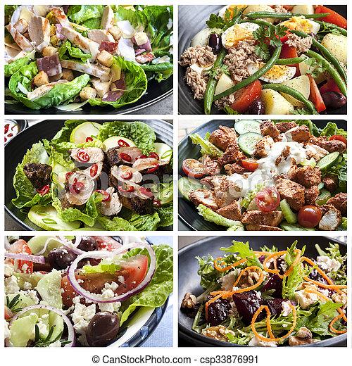 lebensmittel, collage, salate - csp33876991