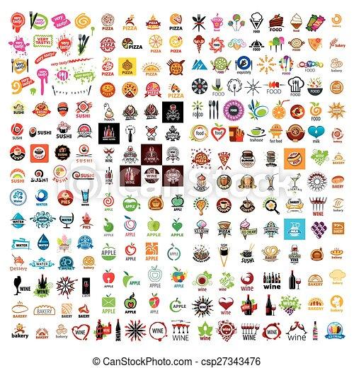 Lebensmittel, getränke, sammlung, vektor, design, größten, logo.