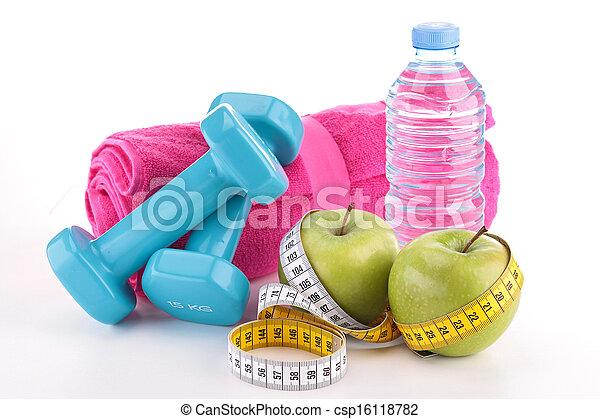 lebensmittel, machen diät, tauglichkeitsausrüstung - csp16118782