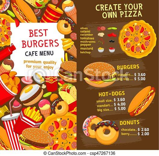 Lebensmittel, menükarte, preis, schnell, vektor, schablone ...