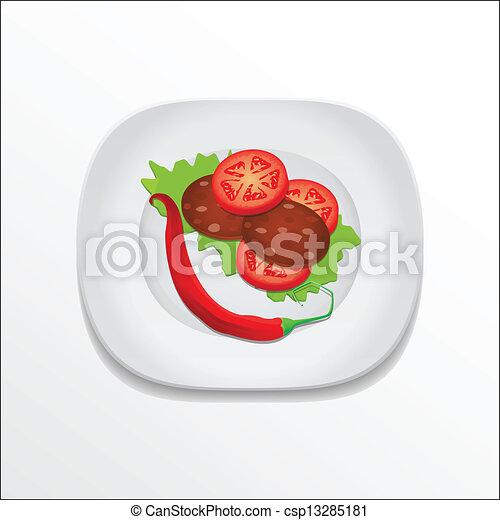Lebensmittel, platte, vektor, abbildung.