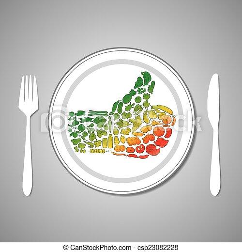 Lebensmittel, platte. Platte, lebensmittel, auf, abbildung, vektor ...
