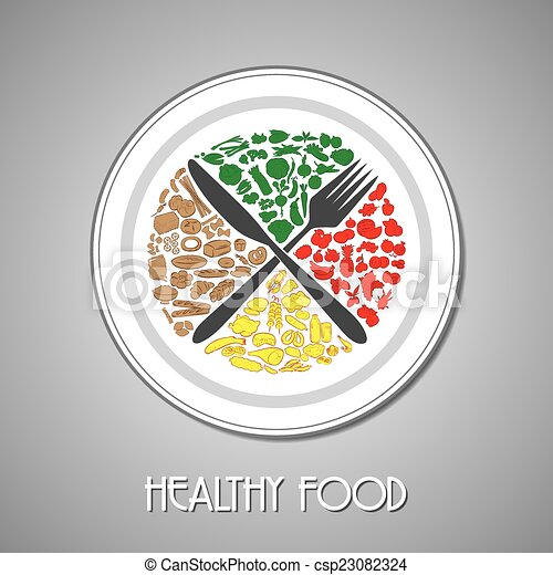Lebensmittel, platte. Gabel, platte, abbildung, essen, vektor ...