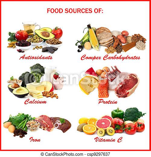 lebensmittel, quellen, nährstoffe - csp9297637