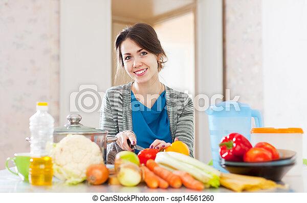 lebensmittel, vegetarier, frau, kochen - csp14561260