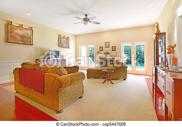 lebensunterhalt, möbel, zimmer, gelber , nett - csp5447608
