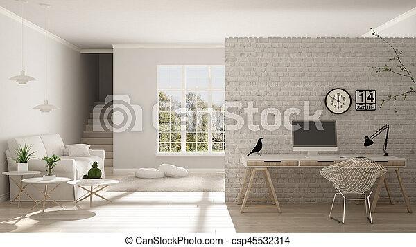 Lebensunterhalt, Minimalist, Haus, Buero, Skandinavisch, Arbeitsplatz,  Design, Hause Innere