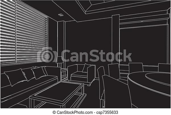 vektor lebensunterhalt modernes zimmer essen. Black Bedroom Furniture Sets. Home Design Ideas