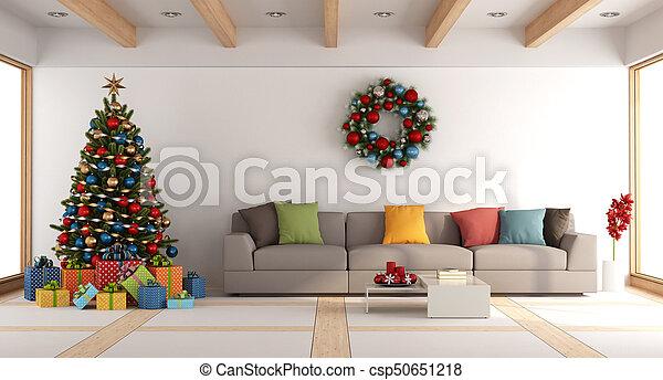 Lebensunterhalt, Weißes, Baum, Zimmer, Weihnachten   Csp50651218