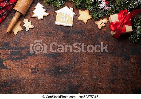 lebkuchen- plätzchen, grüßen karte, weihnachten - csp63375315
