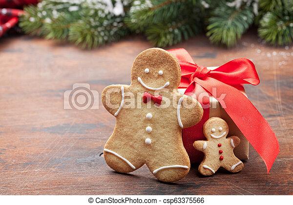 lebkuchen- plätzchen, grüßen karte, weihnachten - csp63375566
