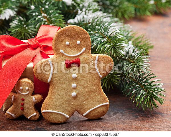 lebkuchen- plätzchen, grüßen karte, weihnachten - csp63375567