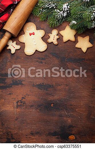 lebkuchen- plätzchen, grüßen karte, weihnachten - csp63375551