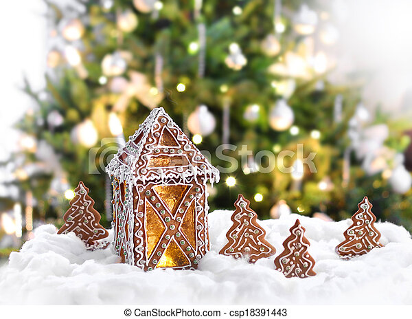 erleuchtet baum front lebkuchen weihnachten laterne. Black Bedroom Furniture Sets. Home Design Ideas