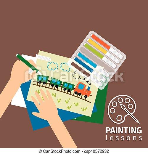 Niños pintando lecciones de ilustración - csp40572932
