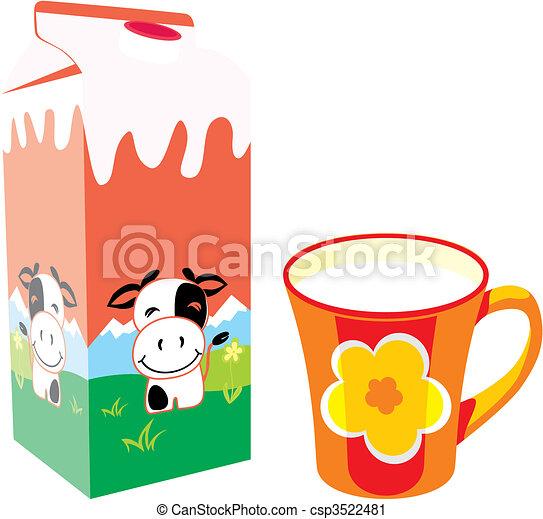 Caja de cartones de leche aislada y taza - csp3522481
