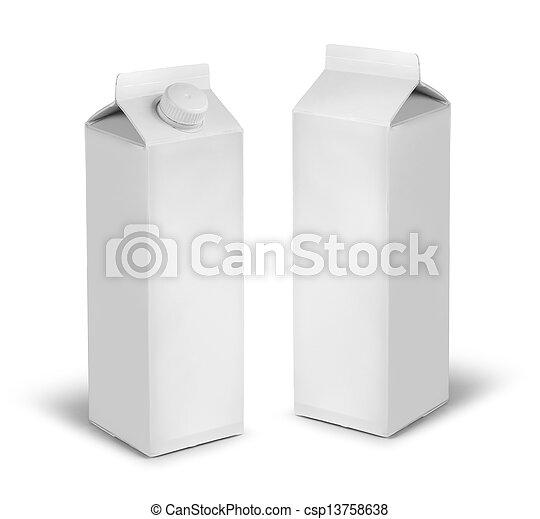 Leche en blanco o latas de cartón de jugo - csp13758638