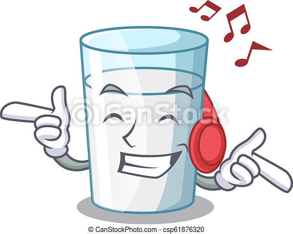 Escuchando música de vidrio fresco de leche en la mesa de dibujos animados - csp61876320