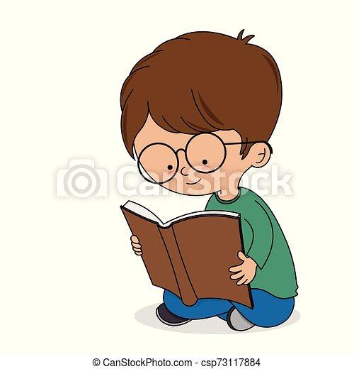 Chico leyendo un libro - csp73117884
